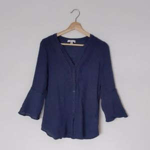 Spense bell sleeve crotchet detail navy blouse top